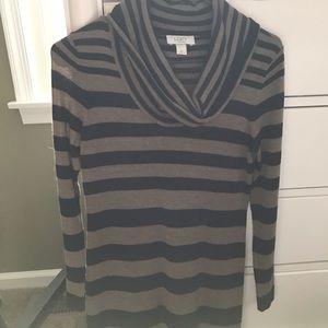 Loft striped long sleeve sweater dress